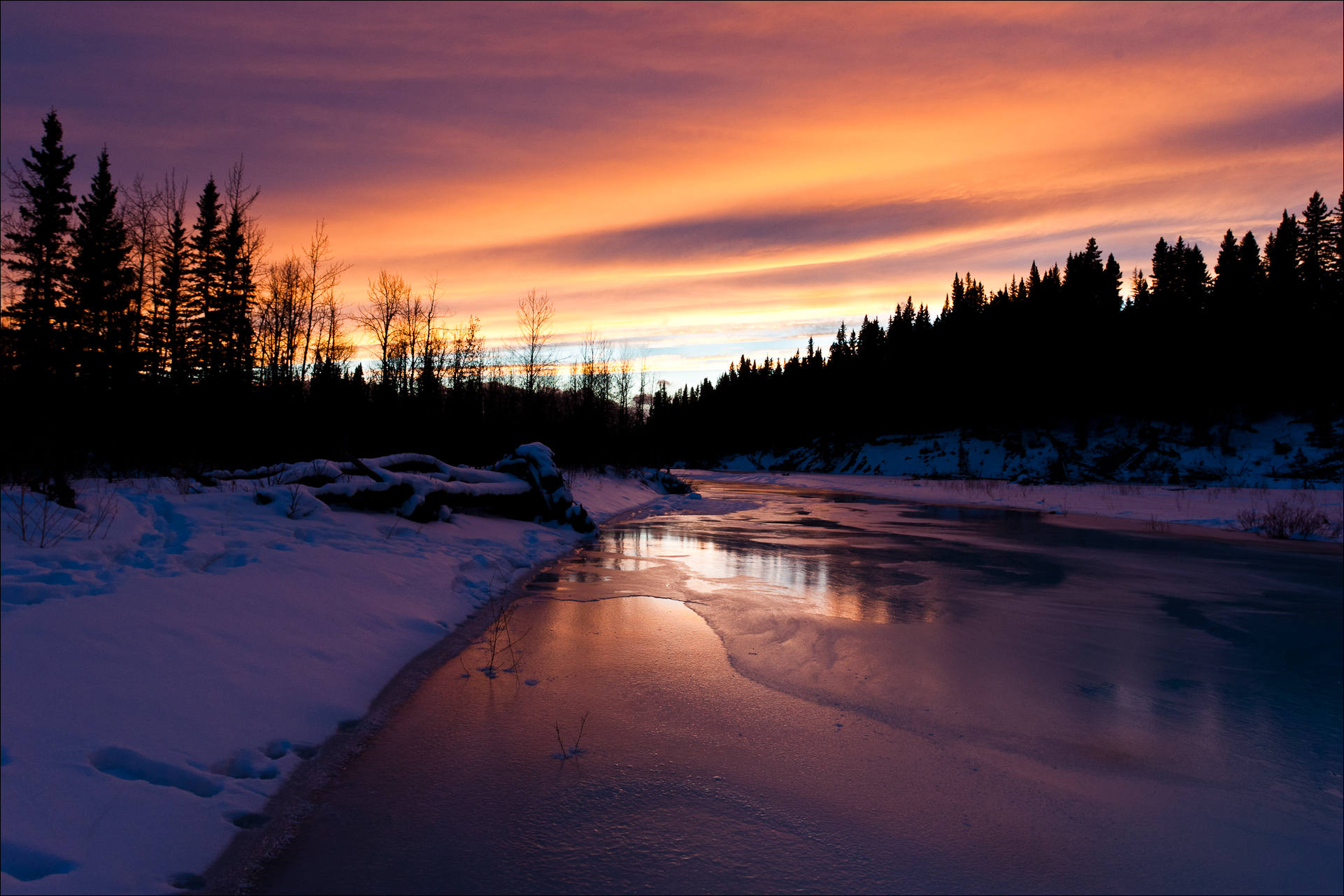 A Winter Scene – Sunset On The Elbow River