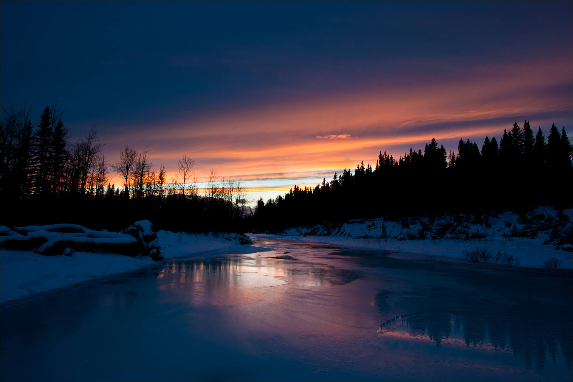 A Winter Scene Sunset On The Elbow River Christopher Martin Photography