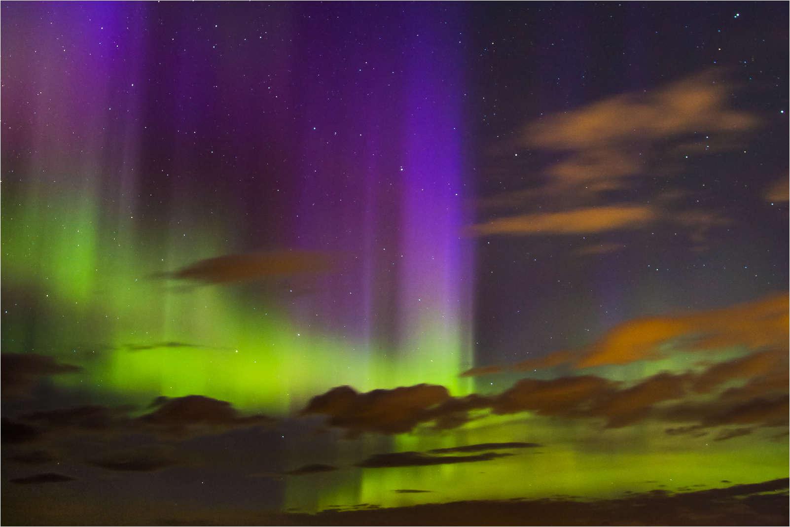 Northern Lights west of Calgary, Alberta
