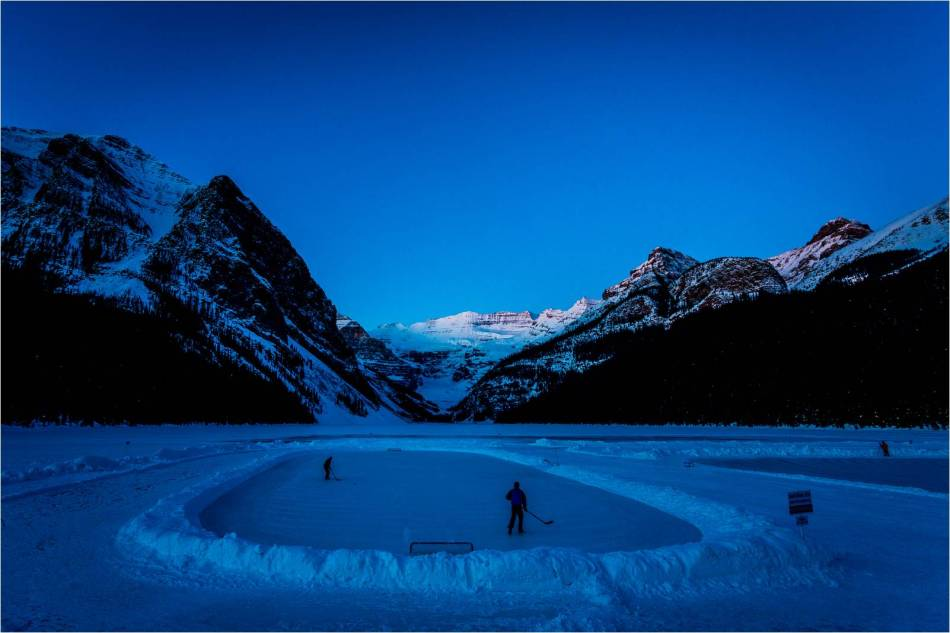 Early morning shinny at Lake Louise - 2013 © Christopher Martin