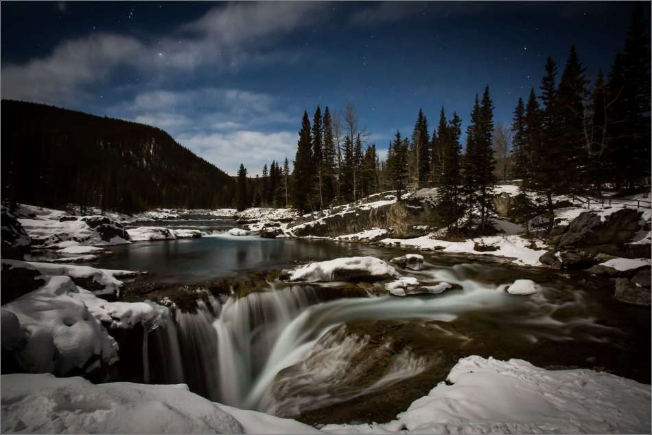 Elbow Falls under moonlight - 2013 © Christopher Martin