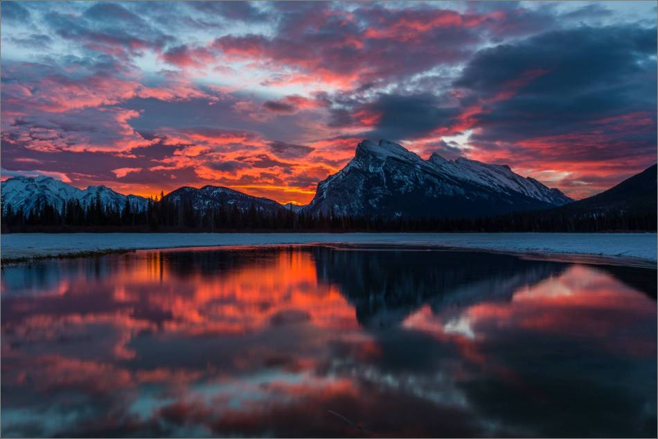 Fire in the clouds - Mount Rundle, Banff National Park, Alberta, Canada