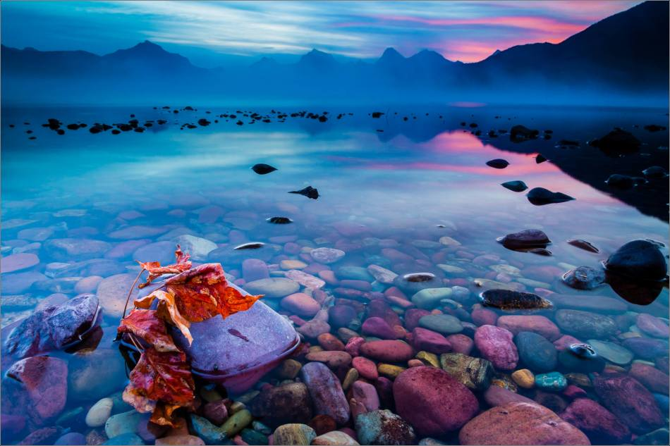 Autumn sunrise on Lake McDonald - Glacier National Park, Montana