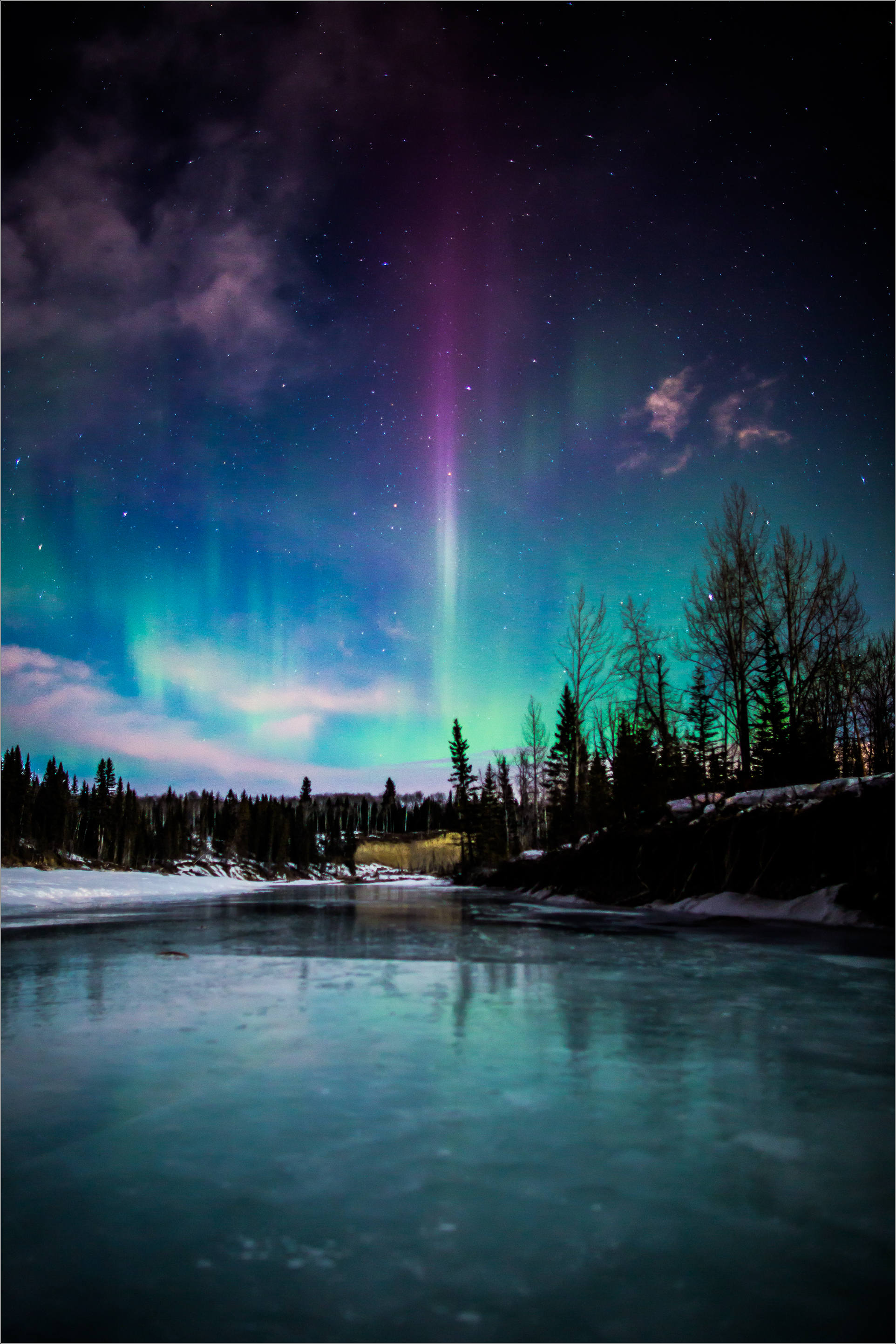 aurora borealis over the elbow river christopher martin photography. Black Bedroom Furniture Sets. Home Design Ideas