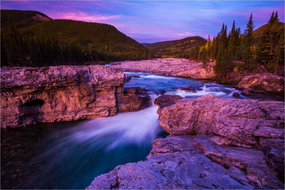 Elbow Falls under an alpen glow - © Christopher Martin-1388