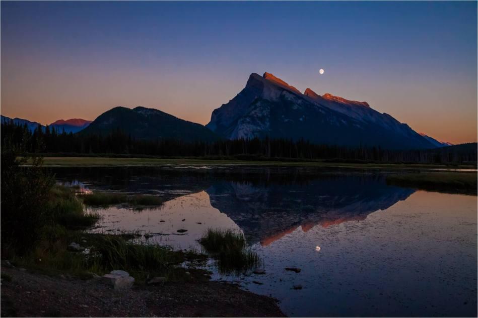Mount Rundle Moonrise Reflected - © Christopher Martin-4640