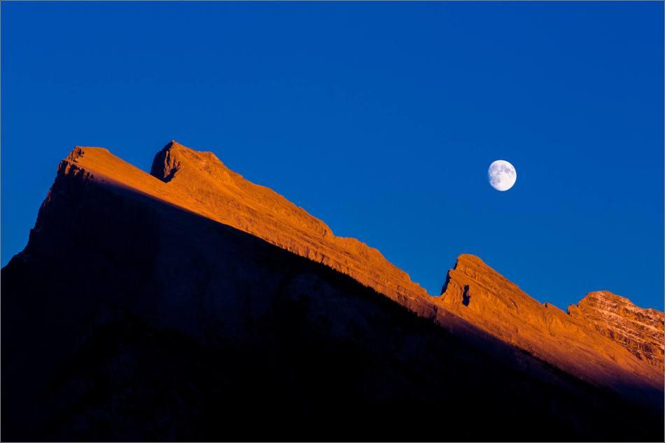 Moonrise over Mount Rundle, Banff National Park, Alberta