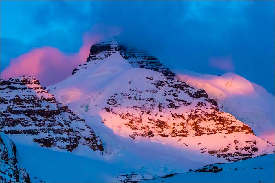 Mount Athabasca in the first light of dawn in the Jasper National Park