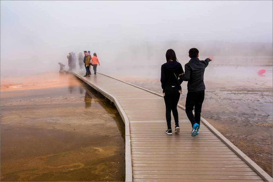 Grand Prismatic Spring - people in the mist - © Christopher Martin-8815