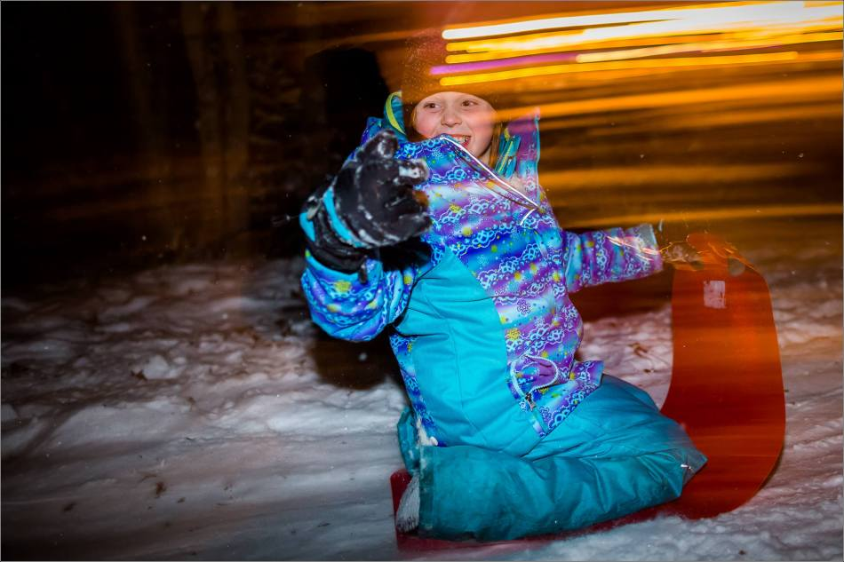 Holiday sledding at night © Christopher Martin-7075