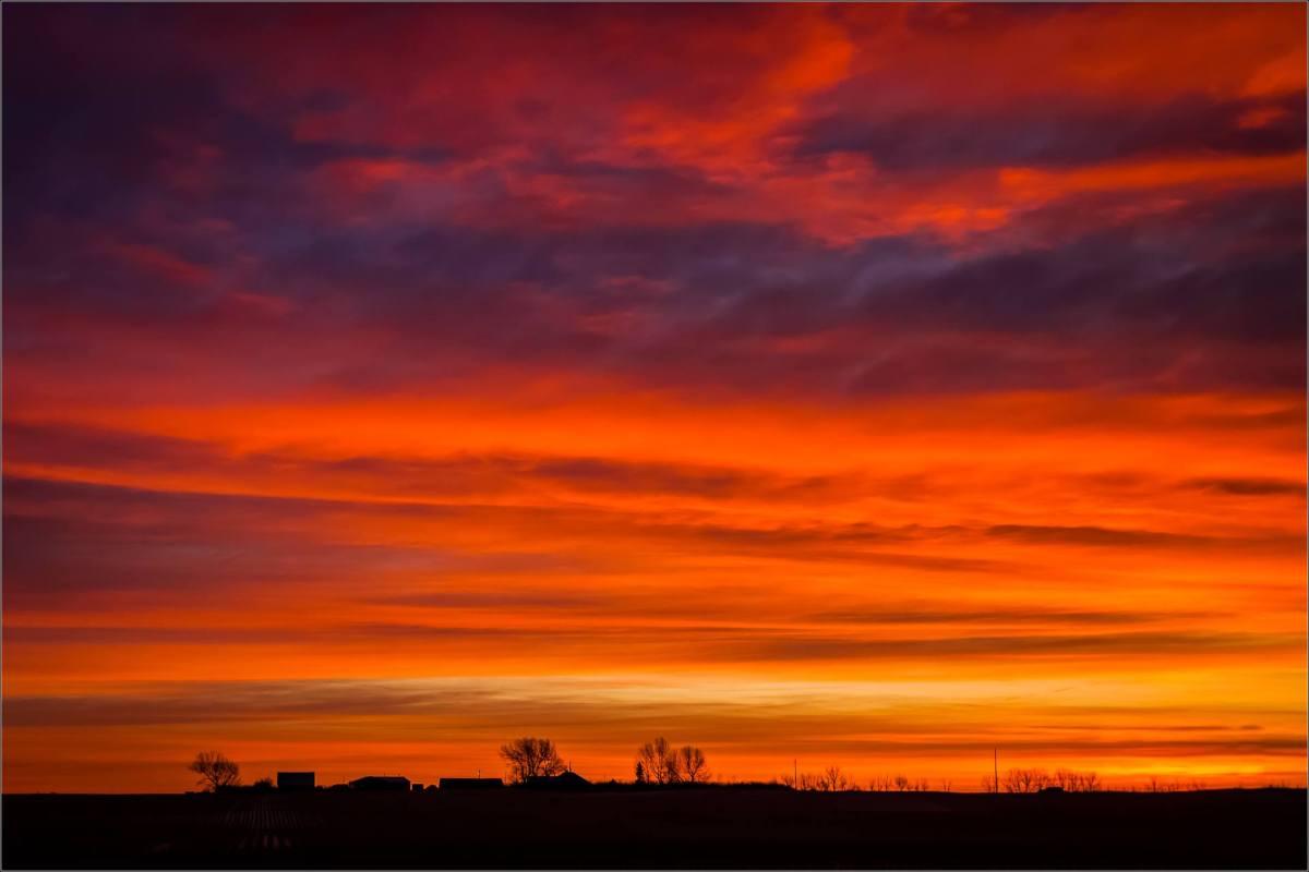 Sunrise Over Prairie Farmland East Of High River